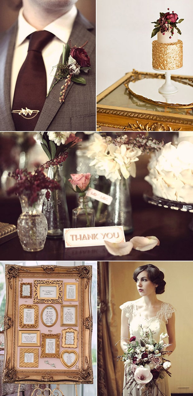 FOTO 8 marsala-and-gold-vintage-themed-wedding-ideas-for-2016